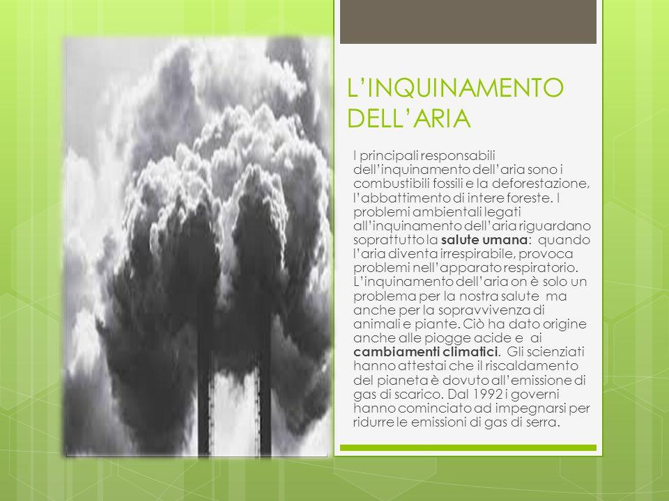 L'INQUINAMENTO DELL'ARIA I principali responsabili dell'inquinamento dell'aria sono i combustibili fossili e la deforestazione, l'abbattimento di intere foreste.