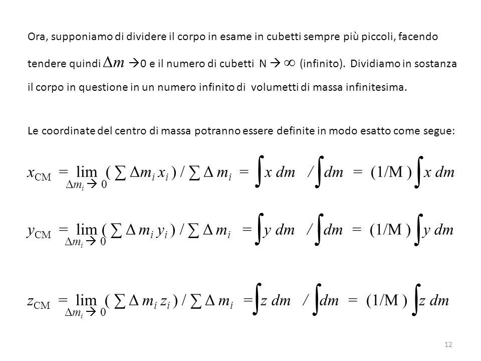 Ora, supponiamo di dividere il corpo in esame in cubetti sempre più piccoli, facendo tendere quindi Δm  0 e il numero di cubetti N  ∞ (infinito). Di