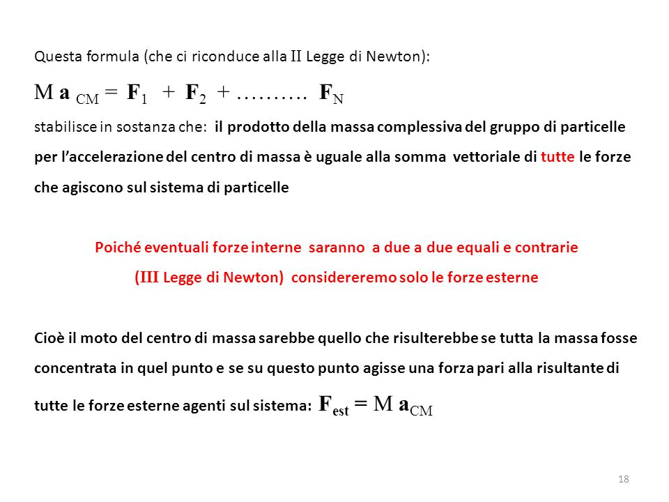 Questa formula (che ci riconduce alla II Legge di Newton): M a CM = F 1 + F 2 + ………. F N stabilisce in sostanza che: il prodotto della massa complessi
