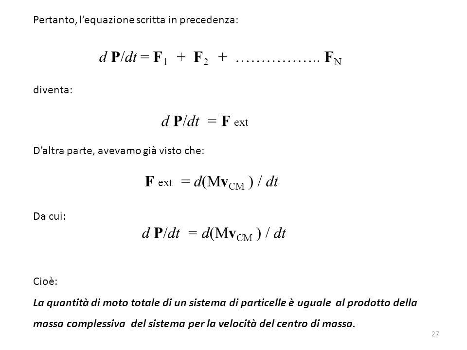 Pertanto, l'equazione scritta in precedenza: d P/dt = F 1 + F 2 + …………….. F N diventa: d P/dt = F ext D'altra parte, avevamo già visto che: F ext = d(
