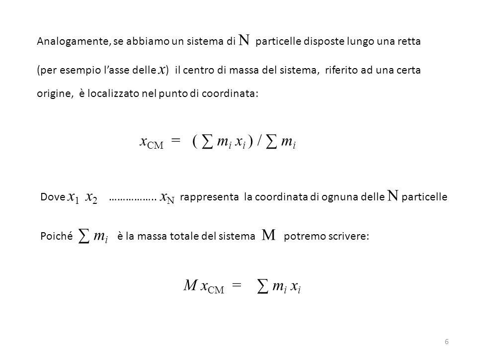 Analogamente, se abbiamo un sistema di N particelle disposte lungo una retta (per esempio l'asse delle x ) il centro di massa del sistema, riferito ad
