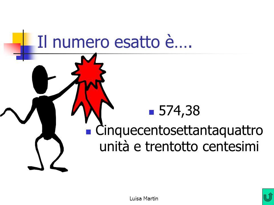 Il numero esatto è…. 574,38 Cinquecentosettantaquattro unità e trentotto centesimi Luisa Martin