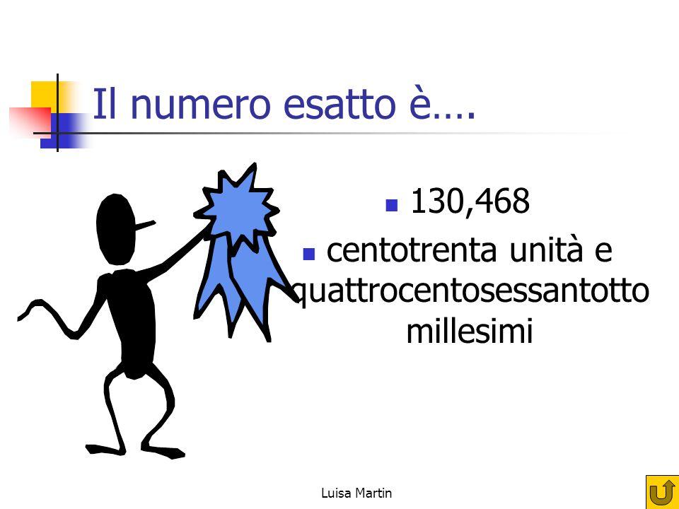 Il numero esatto è…. 130,468 centotrenta unità e quattrocentosessantotto millesimi Luisa Martin