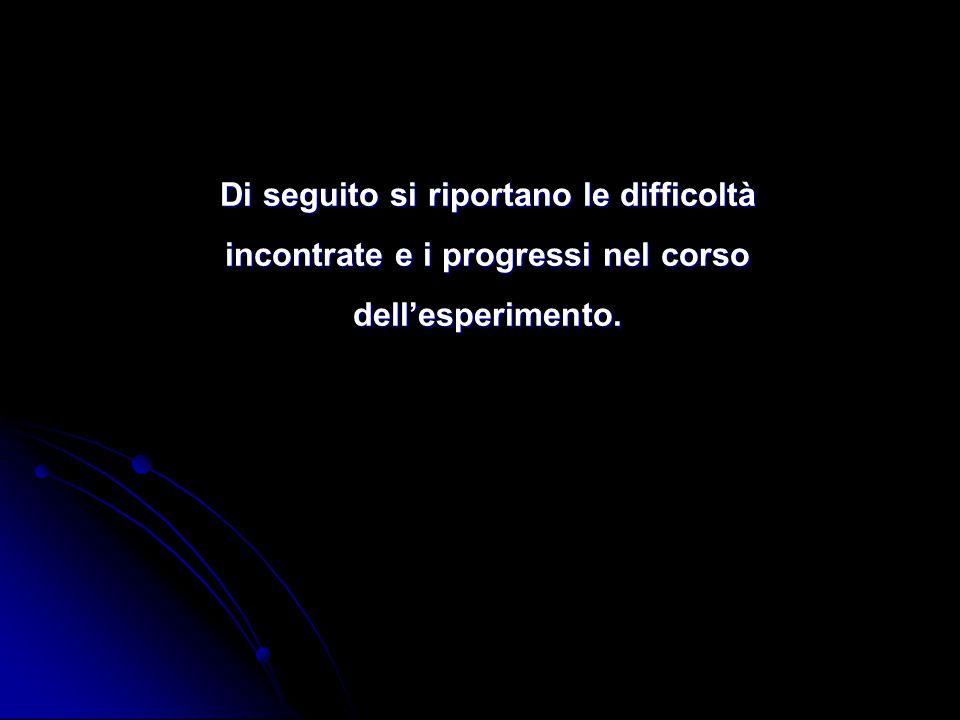 Di seguito si riportano le difficoltà incontrate e i progressi nel corso dell'esperimento.