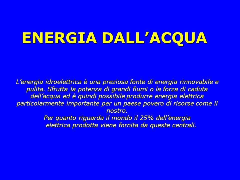 ENERGIA DALL'ACQUA L'energia idroelettrica è una preziosa fonte di energia rinnovabile e pulita. Sfrutta la potenza di grandi fiumi o la forza di cadu