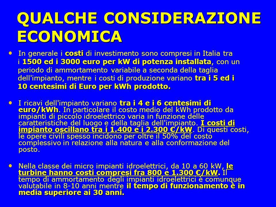 QUALCHE CONSIDERAZIONE ECONOMICA costi In generale i costi di investimento sono compresi in Italia tra 1500 ed i 3000 euro per kW di potenza installata i 1500 ed i 3000 euro per kW di potenza installata, con un periodo di ammortamento variabile a seconda della taglia tra i 5 ed i dell impianto, mentre i costi di produzione variano tra i 5 ed i 10 centesimi di Euro per kWh prodotto.