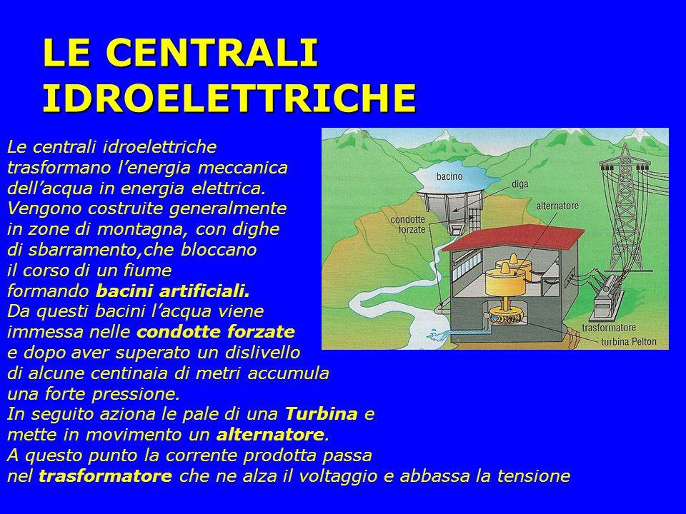 LE CENTRALI IDROELETTRICHE Le centrali idroelettriche trasformano l'energia meccanica dell'acqua in energia elettrica. Vengono costruite generalmente