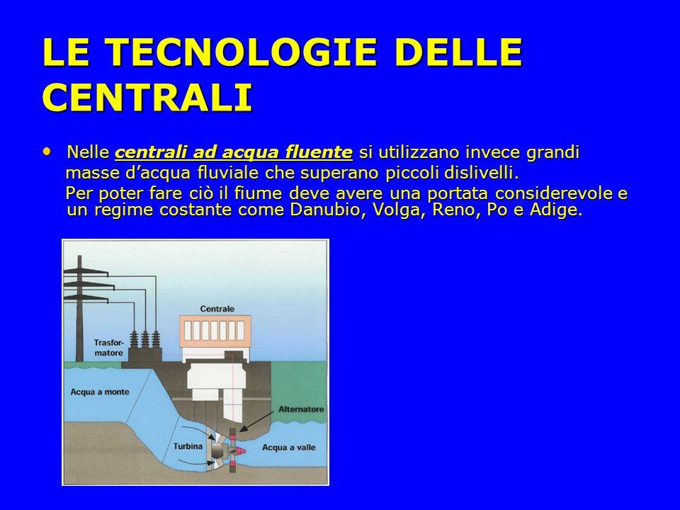 LE TECNOLOGIE DELLE CENTRALI Nelle centrali ad acqua fluente si utilizzano invece grandi Nelle centrali ad acqua fluente si utilizzano invece grandi masse d'acqua fluviale che superano piccoli dislivelli.