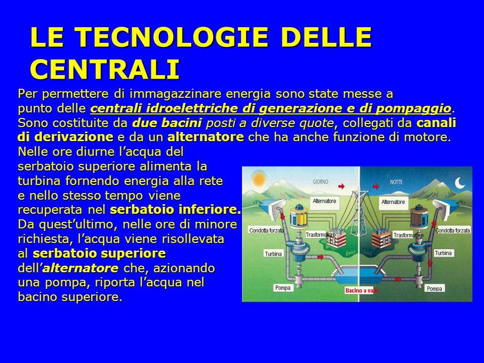 LE TECNOLOGIE DELLE CENTRALI Per permettere di immagazzinare energia sono state messe a Per permettere di immagazzinare energia sono state messe a punto delle centrali idroelettriche di generazione e di pompaggio.