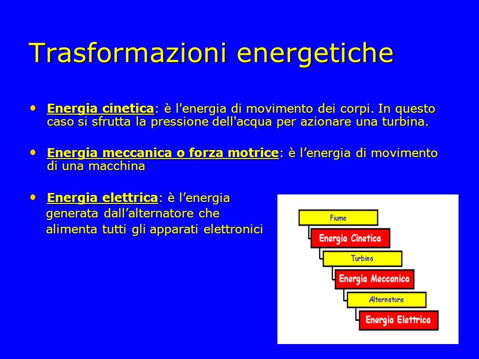 Trasformazioni energetiche Energia cinetica: è l'energia di movimento dei corpi. In questo caso si sfrutta la pressione dell'acqua per azionare una tu