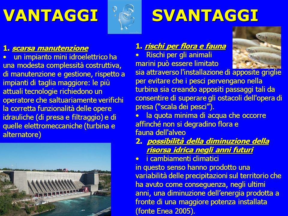 VANTAGGI 1. scarsa manutenzione un impianto mini idroelettrico ha una modesta complessità costruttiva, di manutenzione e gestione, rispetto a impianti