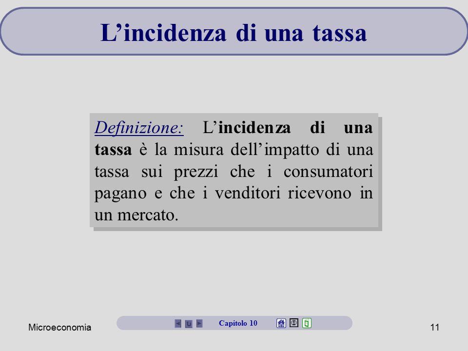 Microeconomia11 L'incidenza di una tassa Definizione: L'incidenza di una tassa è la misura dell'impatto di una tassa sui prezzi che i consumatori paga