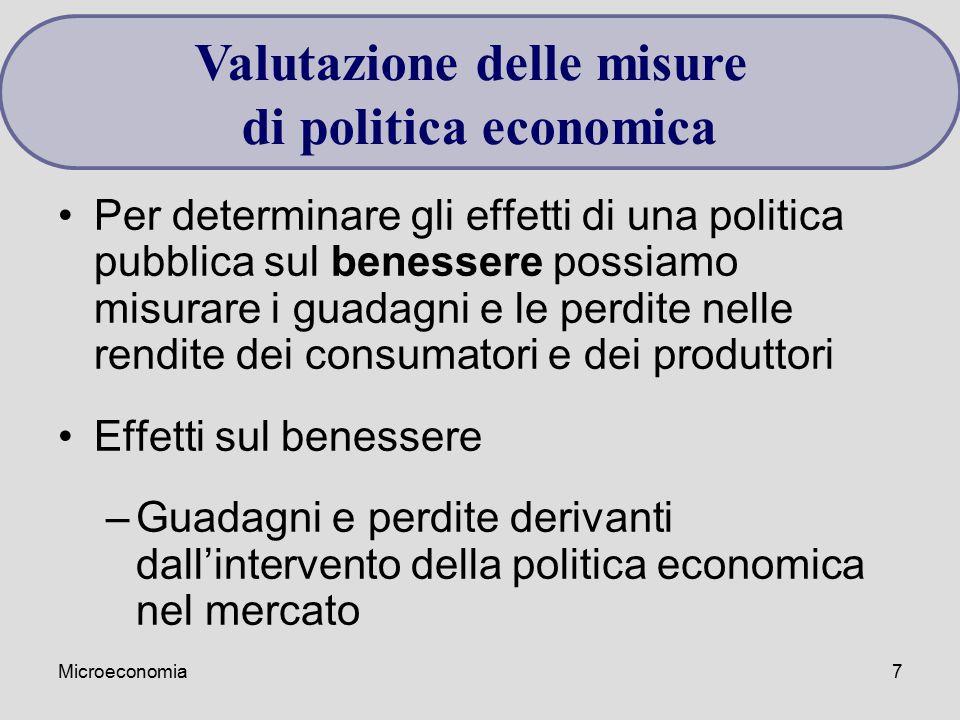Microeconomia7 Per determinare gli effetti di una politica pubblica sul benessere possiamo misurare i guadagni e le perdite nelle rendite dei consumat