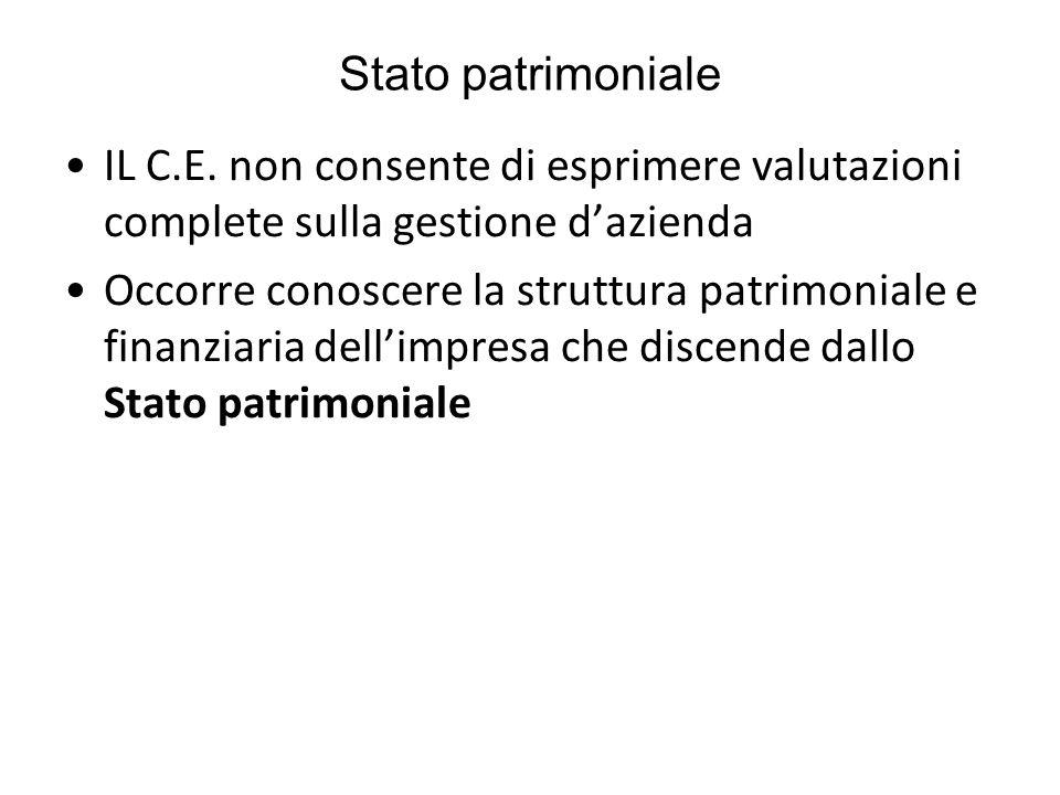 Stato patrimoniale IL C.E. non consente di esprimere valutazioni complete sulla gestione d'azienda Occorre conoscere la struttura patrimoniale e finan