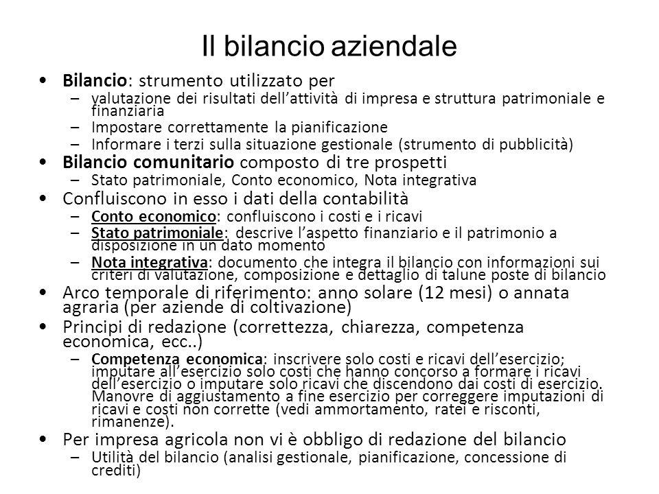 Il bilancio aziendale Bilancio: strumento utilizzato per –valutazione dei risultati dell'attività di impresa e struttura patrimoniale e finanziaria –I