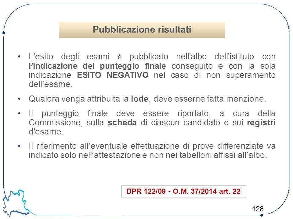 128 L'esito degli esami è pubblicato nell'albo dell'istituto con l ' indicazione del punteggio finale conseguito e con la sola indicazione ESITO NEGAT