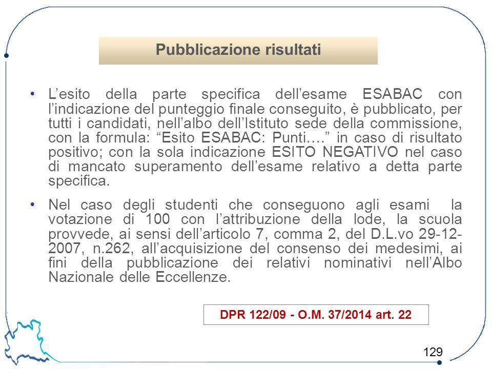 129 L'esito della parte specifica dell'esame ESABAC con l'indicazione del punteggio finale conseguito, è pubblicato, per tutti i candidati, nell'albo
