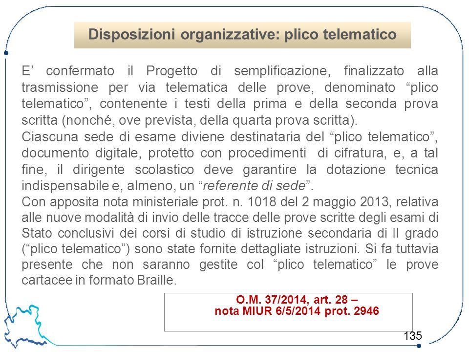 135 O.M. 37/2014, art. 28 – nota MIUR 6/5/2014 prot. 2946 E' confermato il Progetto di semplificazione, finalizzato alla trasmissione per via telemati