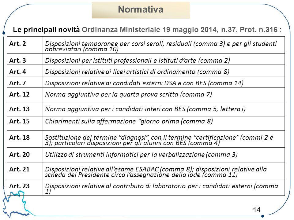 14 Normativa Art. 2 Disposizioni temporanee per corsi serali, residuali (comma 3) e per gli studenti abbreviatari (comma 10) Art. 3Disposizioni per is
