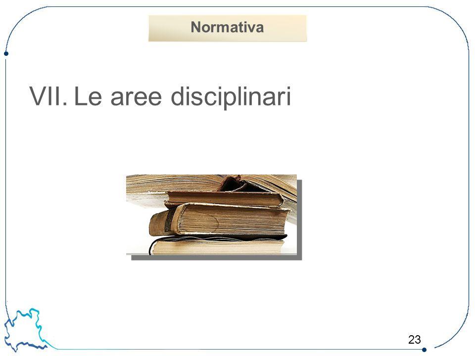 23 VII.Le aree disciplinari Normativa