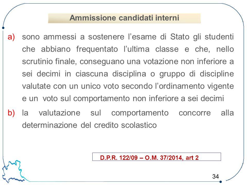 34 a)sono ammessi a sostenere l'esame di Stato gli studenti che abbiano frequentato l'ultima classe e che, nello scrutinio finale, conseguano una vota