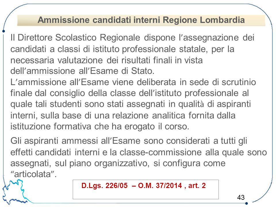 43 Il Direttore Scolastico Regionale dispone l ' assegnazione dei candidati a classi di istituto professionale statale, per la necessaria valutazione