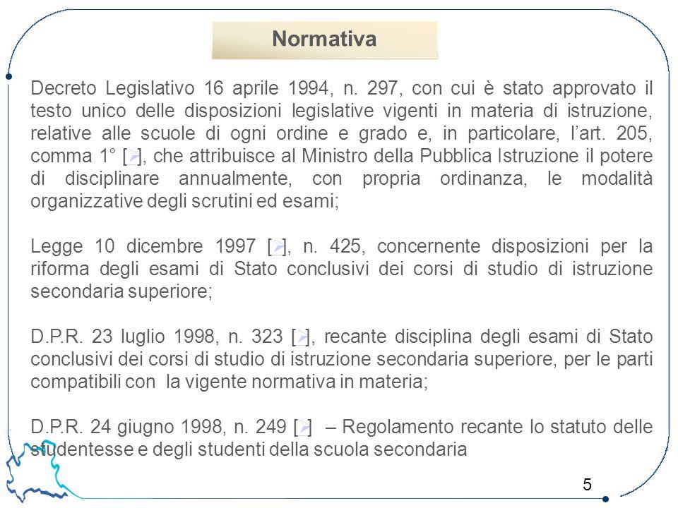 5 Decreto Legislativo 16 aprile 1994, n. 297, con cui è stato approvato il testo unico delle disposizioni legislative vigenti in materia di istruzione