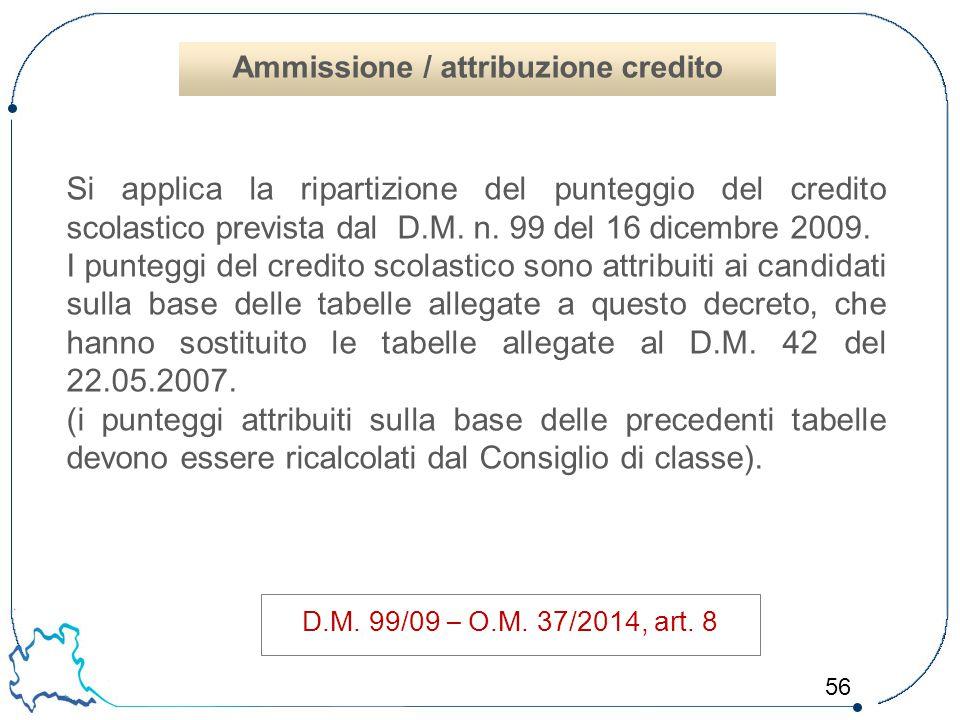 56 Si applica la ripartizione del punteggio del credito scolastico prevista dal D.M. n. 99 del 16 dicembre 2009. I punteggi del credito scolastico son