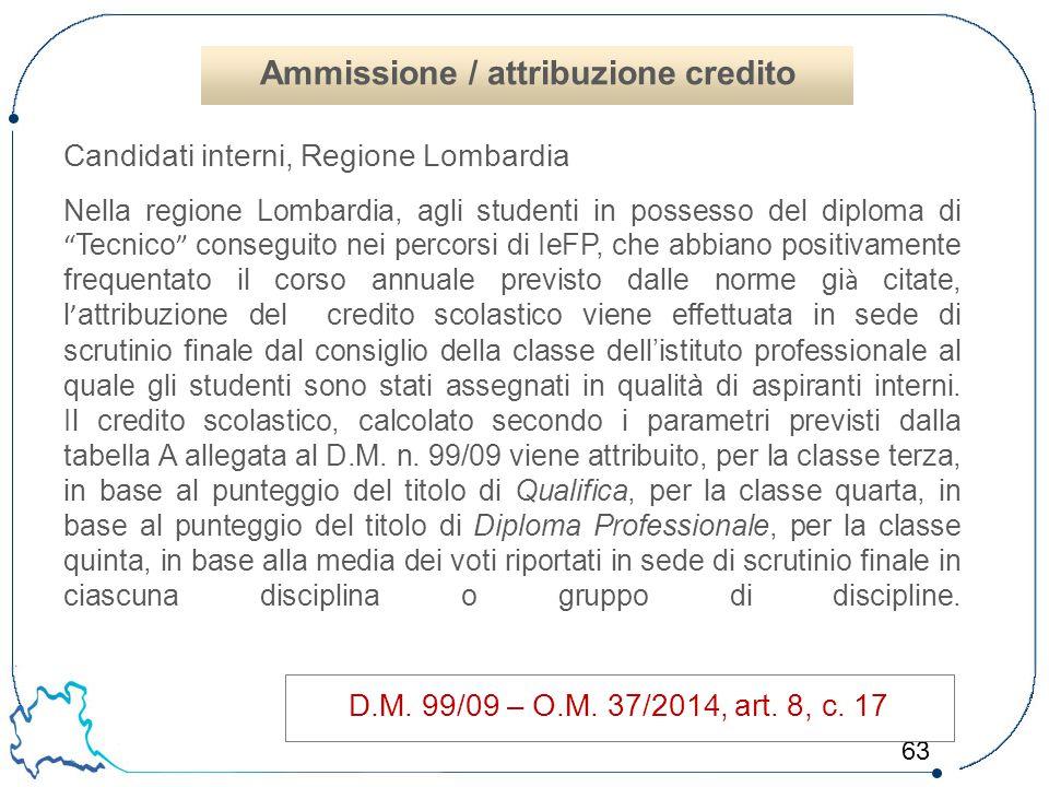 """63 Candidati interni, Regione Lombardia Nella regione Lombardia, agli studenti in possesso del diploma di """" Tecnico """" conseguito nei percorsi di IeFP,"""