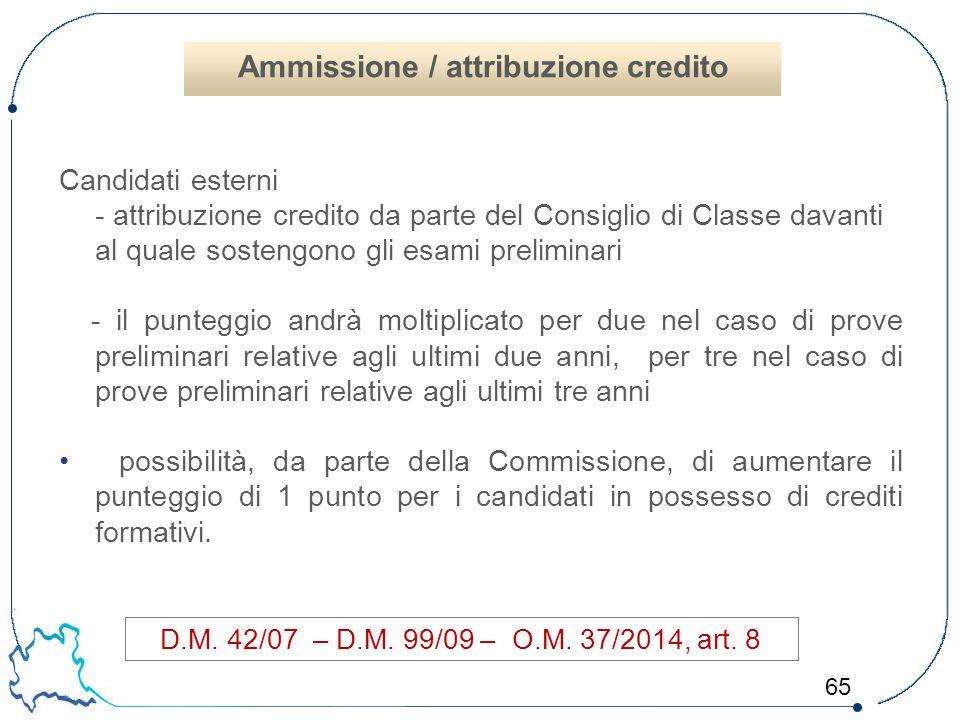 65 Candidati esterni - attribuzione credito da parte del Consiglio di Classe davanti al quale sostengono gli esami preliminari - il punteggio andrà mo