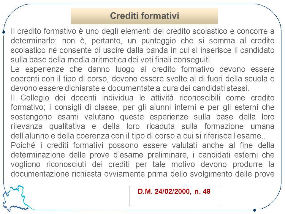 Il credito formativo è uno degli elementi del credito scolastico e concorre a determinarlo: non è, pertanto, un punteggio che si somma al credito scol
