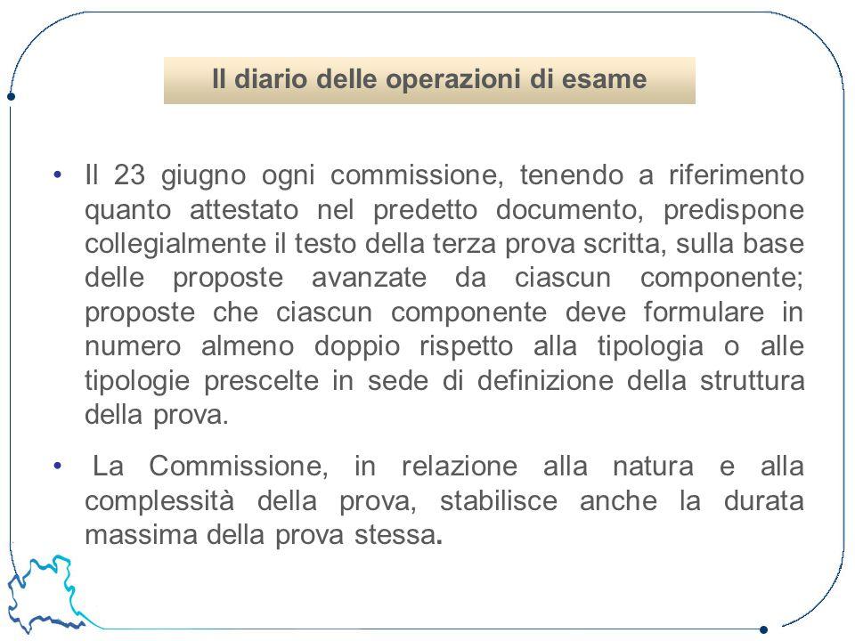 Il 23 giugno ogni commissione, tenendo a riferimento quanto attestato nel predetto documento, predispone collegialmente il testo della terza prova scr