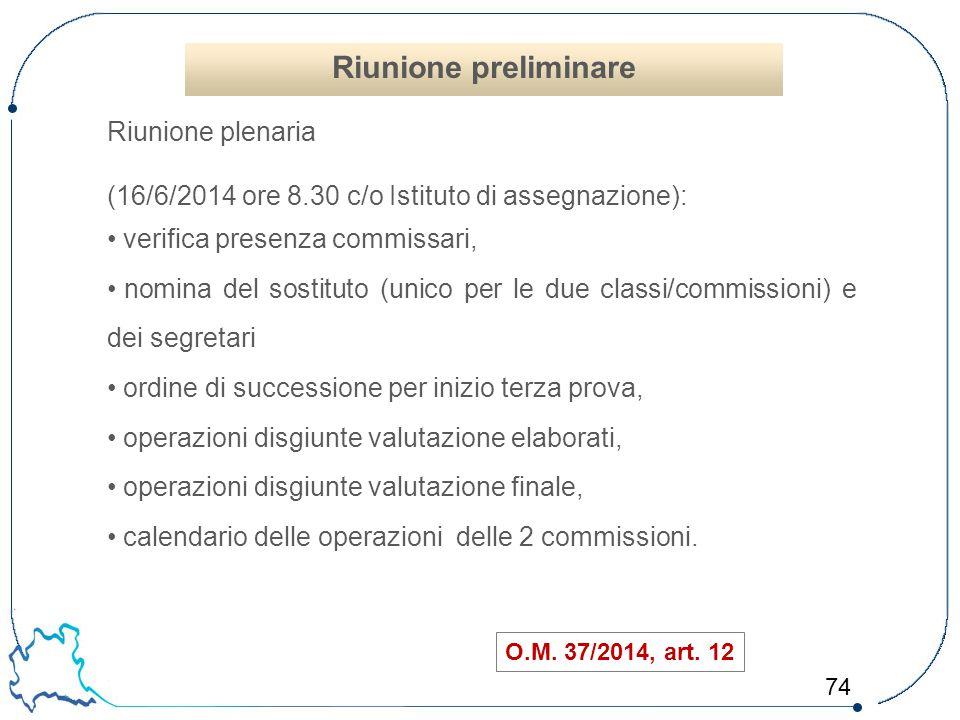 74 O.M. 37/2014, art. 12 Riunione plenaria (16/6/2014 ore 8.30 c/o Istituto di assegnazione): verifica presenza commissari, nomina del sostituto (unic