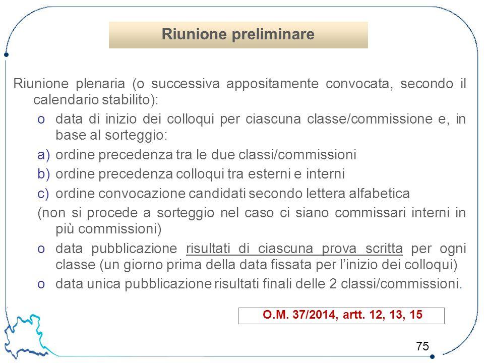 75 Riunione plenaria (o successiva appositamente convocata, secondo il calendario stabilito): odata di inizio dei colloqui per ciascuna classe/commiss