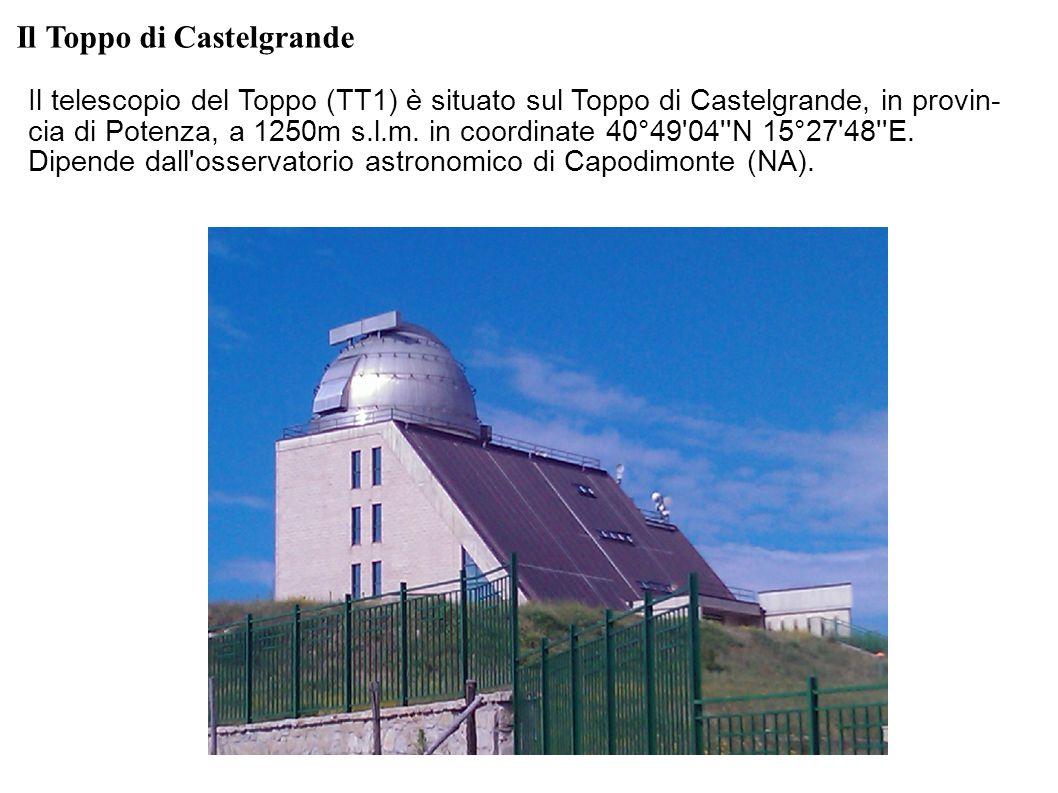 Il Toppo di Castelgrande Il telescopio del Toppo (TT1) è situato sul Toppo di Castelgrande, in provin- cia di Potenza, a 1250m s.l.m. in coordinate 40