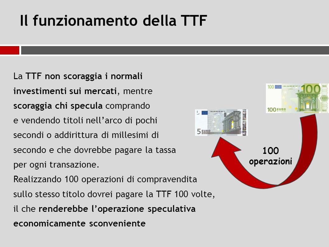 Il funzionamento della TTF La TTF non scoraggia i normali investimenti sui mercati, mentre scoraggia chi specula comprando e vendendo titoli nell'arco di pochi secondi o addirittura di millesimi di secondo e che dovrebbe pagare la tassa per ogni transazione.