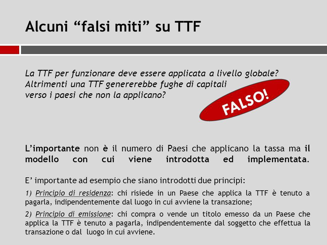 Alcuni falsi miti su TTF La TTF per funzionare deve essere applicata a livello globale.