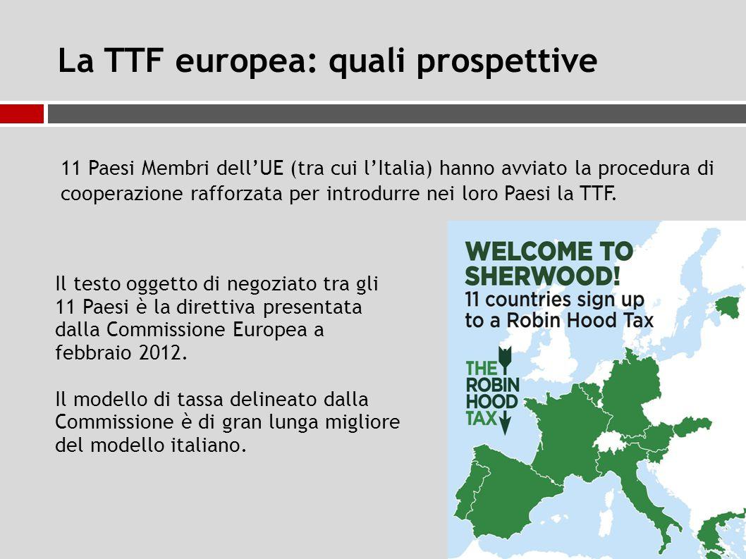 La TTF europea: quali prospettive 11 Paesi Membri dell'UE (tra cui l'Italia) hanno avviato la procedura di cooperazione rafforzata per introdurre nei loro Paesi la TTF.