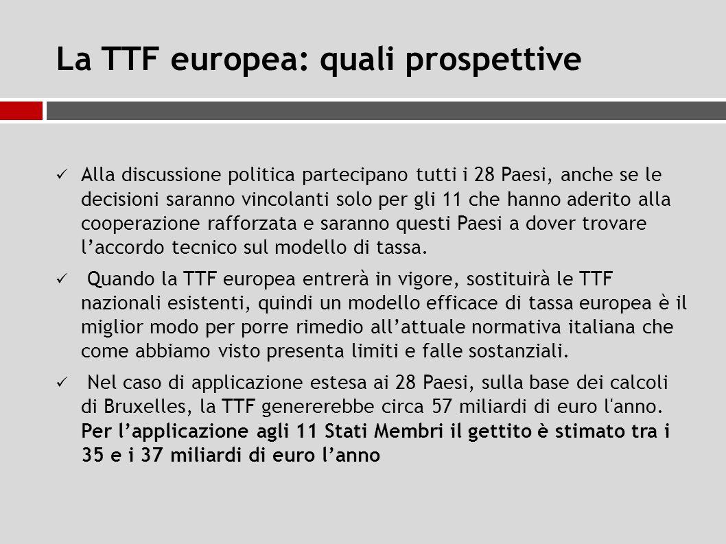 La TTF europea: quali prospettive Alla discussione politica partecipano tutti i 28 Paesi, anche se le decisioni saranno vincolanti solo per gli 11 che hanno aderito alla cooperazione rafforzata e saranno questi Paesi a dover trovare l'accordo tecnico sul modello di tassa.