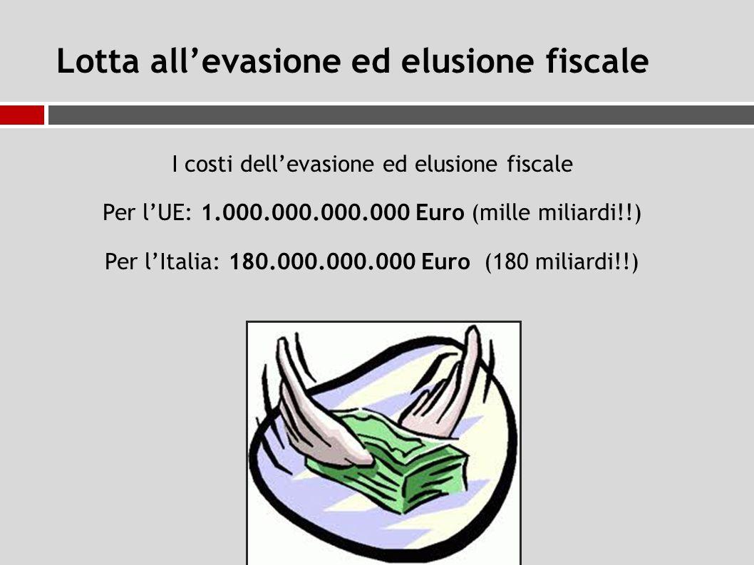 Lotta all'evasione ed elusione fiscale I costi dell'evasione ed elusione fiscale Per l'UE: 1.000.000.000.000 Euro (mille miliardi!!) Per l'Italia: 180.000.000.000 Euro (180 miliardi!!)