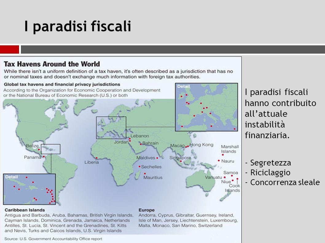 I paradisi fiscali I paradisi fiscali hanno contribuito all'attuale instabilità finanziaria.