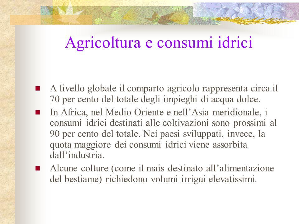 Agricoltura e consumi idrici A livello globale il comparto agricolo rappresenta circa il 70 per cento del totale degli impieghi di acqua dolce. In Afr