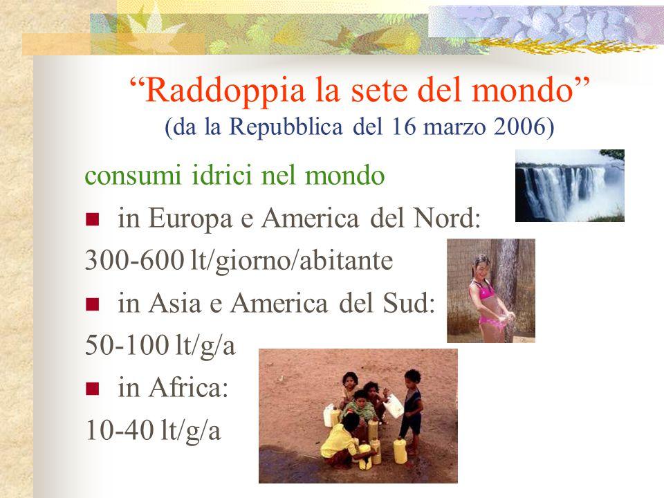 """""""Raddoppia la sete del mondo"""" (da la Repubblica del 16 marzo 2006) consumi idrici nel mondo in Europa e America del Nord: 300-600 lt/giorno/abitante i"""