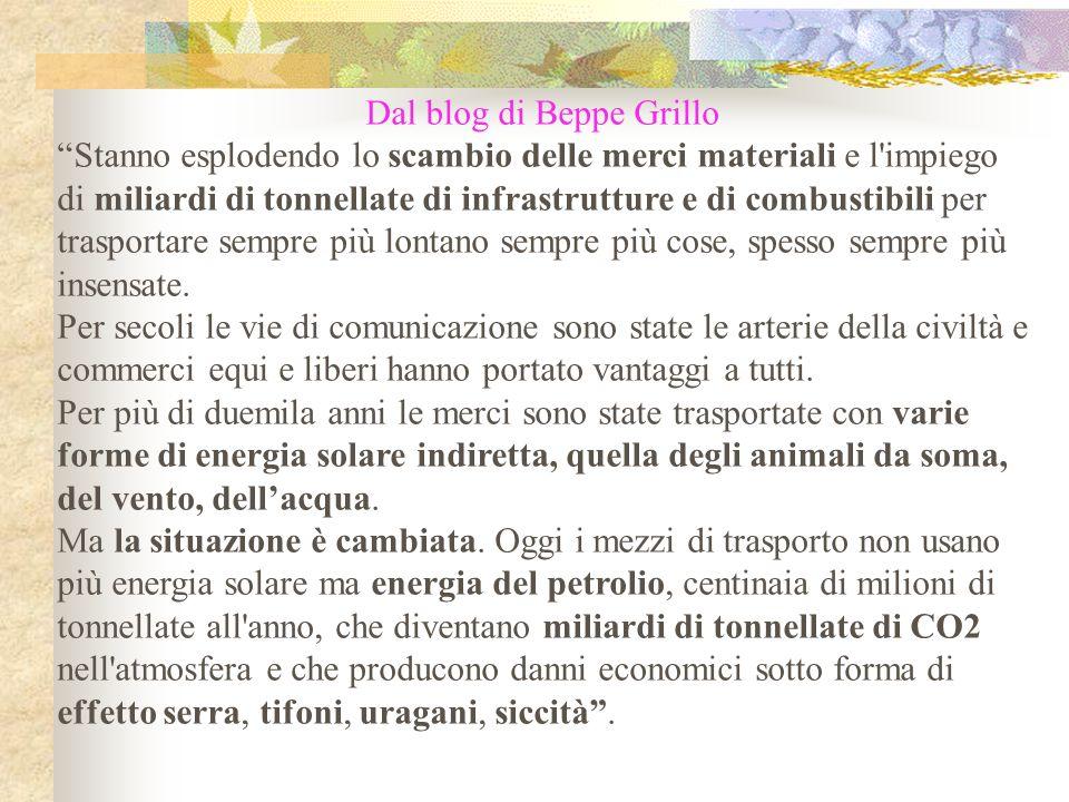"""Dal blog di Beppe Grillo """"Stanno esplodendo lo scambio delle merci materiali e l'impiego di miliardi di tonnellate di infrastrutture e di combustibili"""