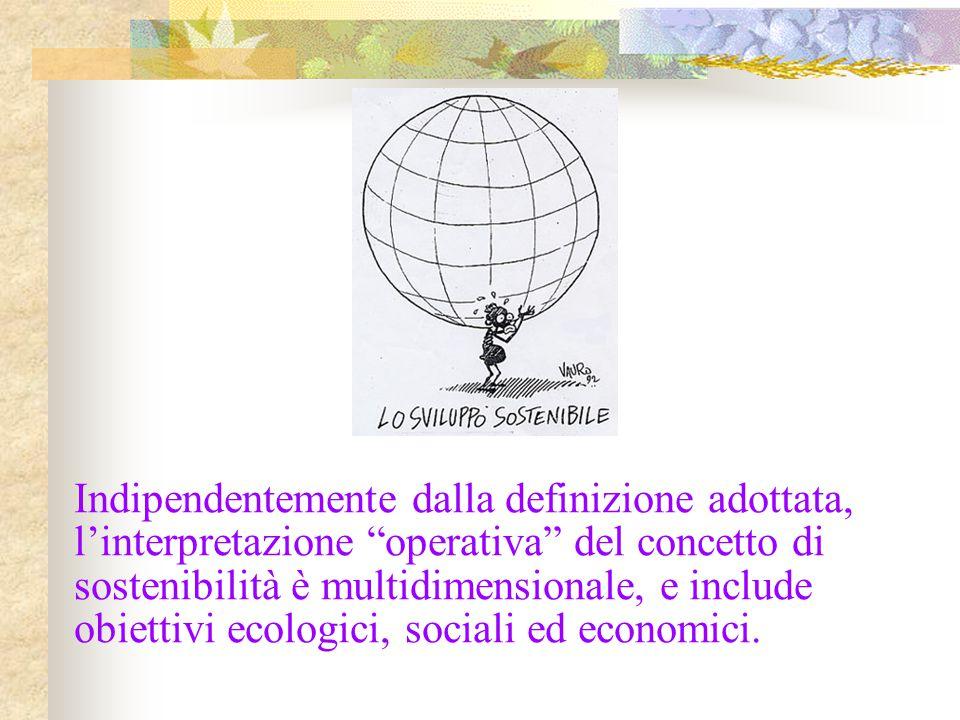 """Indipendentemente dalla definizione adottata, l'interpretazione """"operativa"""" del concetto di sostenibilità è multidimensionale, e include obiettivi eco"""