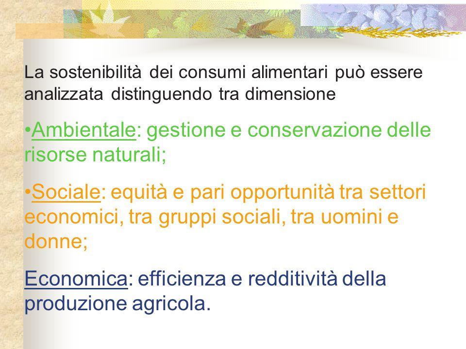 La sostenibilità dei consumi alimentari può essere analizzata distinguendo tra dimensione Ambientale: gestione e conservazione delle risorse naturali;