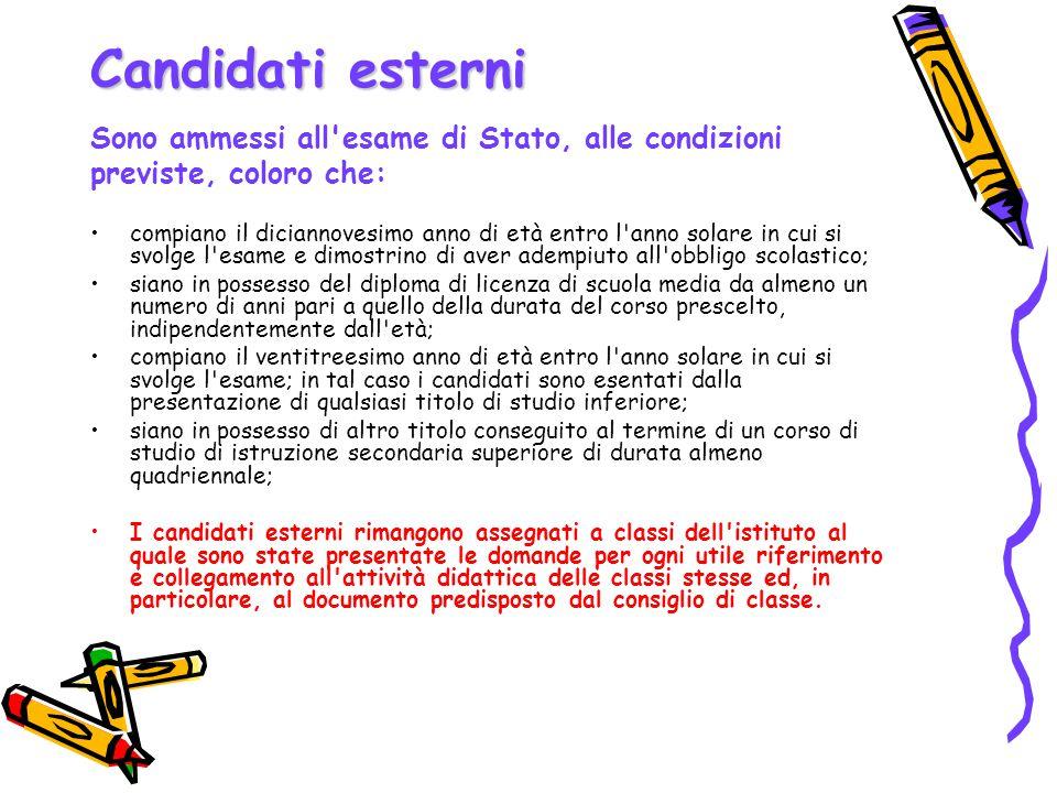 Candidati esterni Sono ammessi all'esame di Stato, alle condizioni previste, coloro che: compiano il diciannovesimo anno di età entro l'anno solare in