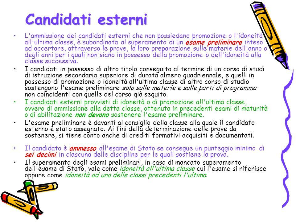 Candidati esterni L'ammissione dei candidati esterni che non possiedano promozione o l'idoneità all'ultima classe, è subordinata al superamento di un