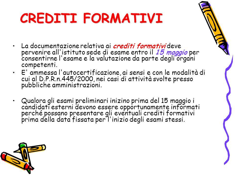 CREDITI FORMATIVI La documentazione relativa ai crediti formativi deve pervenire all'istituto sede di esame entro il 15 maggio per consentirne l'esame