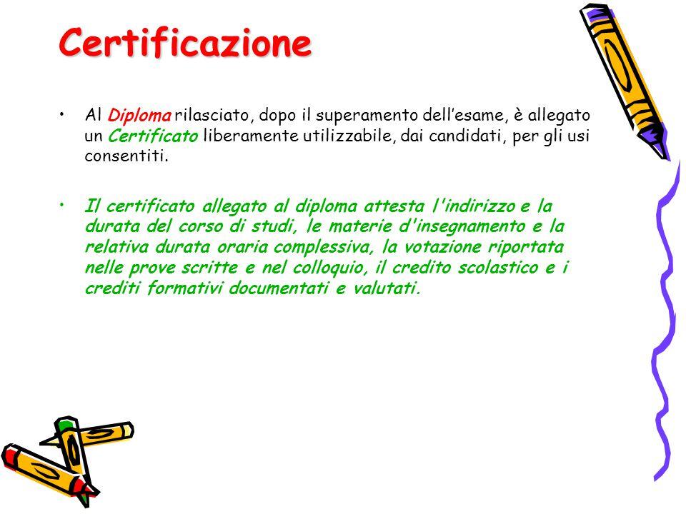 Certificazione Al Diploma rilasciato, dopo il superamento dell'esame, è allegato un Certificato liberamente utilizzabile, dai candidati, per gli usi c
